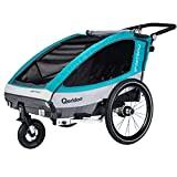 Remorque à vélo Qeridoo Sportrex2 (2018) pour enfants, 2 places (avec suspension réglable), aquamarine